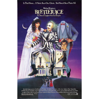 Poster for Beetlejuice starring Michael Keaton, Winona Ryder, Alec Baldwin and Geena Davis